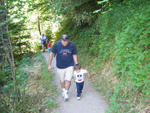 Uncle Ross and Austin trekking down the trail